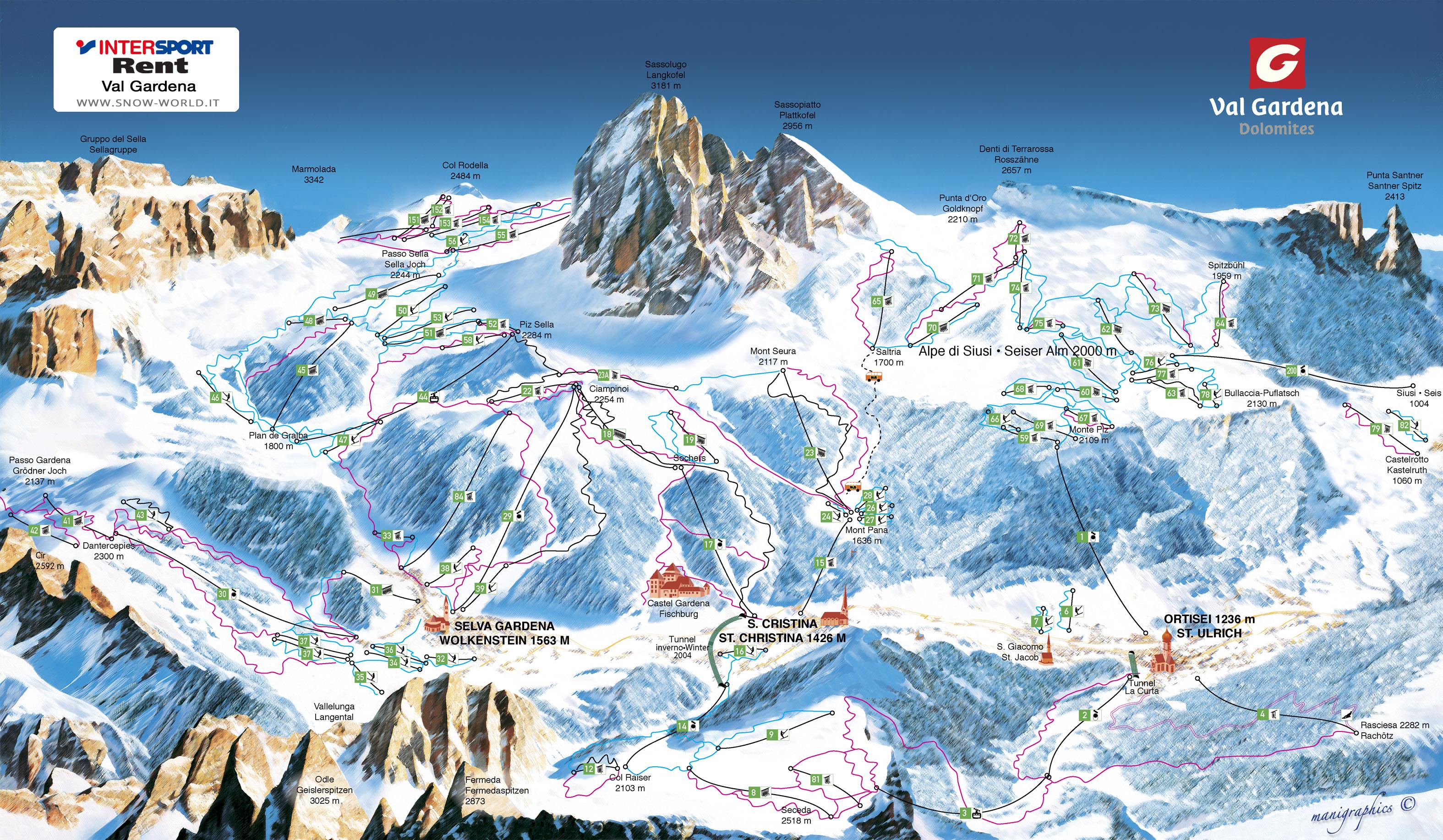 Ski Map Val Gardena-Alpe di Siusi - Dolomiti Superski